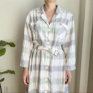 Vtg Shirt Style Midi Pastel Pleid Dress Belted 12